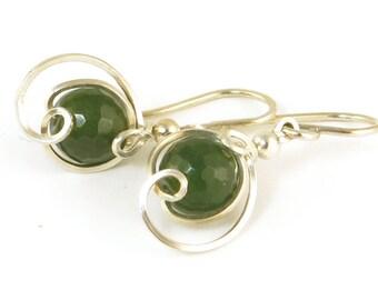 Green Nephrite Jade Gemstone Silver Drop Earrings, Unique Wire Wrapped Dark Green Jade Small Dangle Earrings, Nephrite Jade Earrings Jewelry