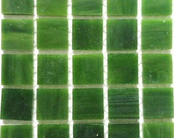 "20mm (3/4"") Leaf Green Tiffany STAINED GLASS Mosaic Tiles//Machine Cut Tiles//Mosaic//Mosaic Supplies"