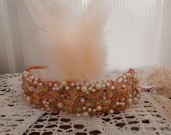Pale pink peach feather beaded headband,1920s influence headband.  Flapper headband, Boho flapper wedding head piece.