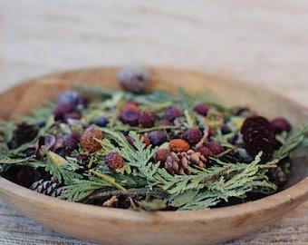 Handmade Natural Rustic Basket Potpourri Maine Woods Scent, Pine, Balsam Fir, Holidays,