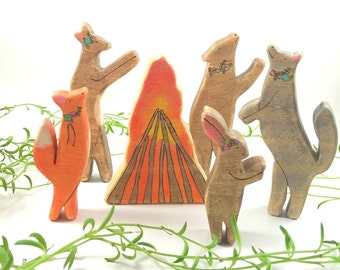 wooden animal toys, waldorf toys, wooden waldorf toys, forest animal, wooden animal figurine, summer solstice