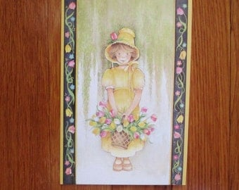 Roser Puig Vintage Easter Card 1986 Girl with Flower Basket, Pictura Graphica Unused