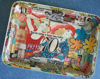 Decoupaged  Tray (That Seventies Tray )Upcycled Repurposed