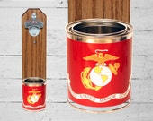 Gift for Marine Boyfriend US Marines Wall Mounted Bottle Opener with Military Tin Can Cap Catcher - Marine Girlfriend Gift - Gift for Guy