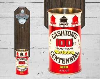 Wall Mounted Bottle Opener with Vintage Cashton's 100th Centennial Beer Can Cap Catcher Groomsmen Gift