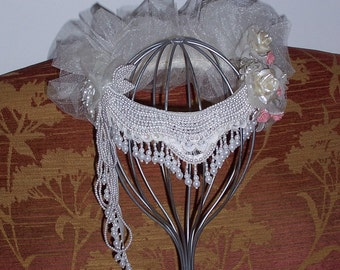 Bridal Headpiece Up-cycled custom design hand-crafted with VINTAGE materials Wedding Hat Veil
