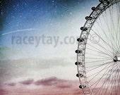 Ferris Wheel Prints, Blue Pink Wall Art, Baby Girl Nursery Decor, London Photography, Millennium Wheel, London Photos, London Eye Print