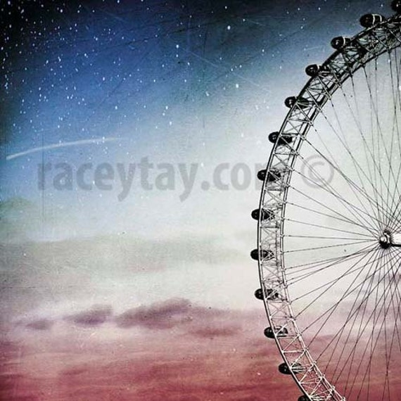 Ferris Wheel Print, Blue, Pink, Girl Nursery Decor, London Photography, Millennium Wheel, Dreamy Surreal