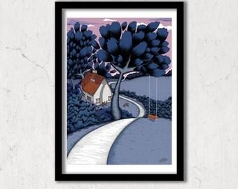 At Night, blue moonlight garden art print