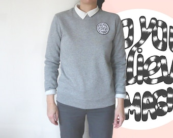 Sweatshirt, grey classic preppy style unisex cotton, embroidered round patch