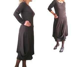 Long custom dress, Plus size midi dress,  Long sleeve Womens dress, Draped dress, Brown jersey dress, XL, XXL, 3XL, Petite dress, Maxi dress