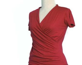 Wrap Top, Wrap blouse, Wrap shirt, Maternity Casual top, Custom wrap top, Plus size wrap top, Womens wrap top, Womens plus size top, Wraptop