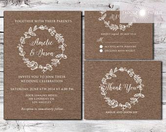 Kraft Wedding Invitation Set, Kraft Wedding Invite, Rustic Invitation,  Printable, Rustic,