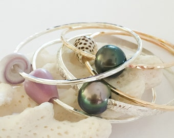 Keiki Children Sized Shell and Tahitian Pearl Bangles
