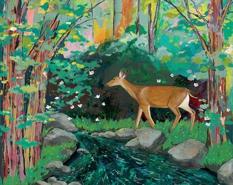 Enchantment // eco-friendly wall art forest deer print