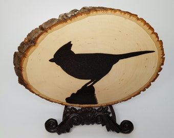 Woodburning Wood Burning Silhouette Tufted Titmouse Plaque