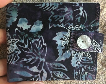 Womens wallet - deep purple and sparkle silver batik - coin pocket FREE SHIPPING
