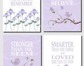 Lavender Wall Art, Kids Wall Art, Baby Girl Nursery Decor, Purple, Lavender, White, Promise Me You'll Always Remember, Set of 4, Prints
