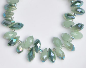 95pcs Crystal Teardrop Faceted Glass beads 6x12mm Green Briolette -(#HS06-01)