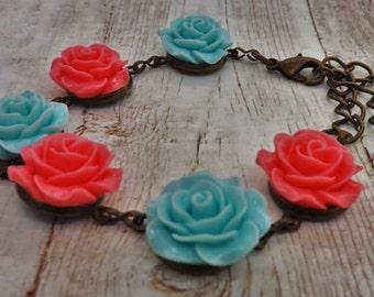 Mint Blue and Pink Antique Brass Bracelet