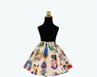 Girl's Beige Colorful Frida Skirt