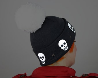 Reflective Safety Beanie Cap, Skulls with Star Studs and with or without Pom Pom