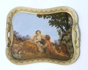 Ardalt Porcelain Tray Loving Couple Artist Signed//Shepherd// Vintage Home Decor//Vintage Vanity Tray//Vintage Art