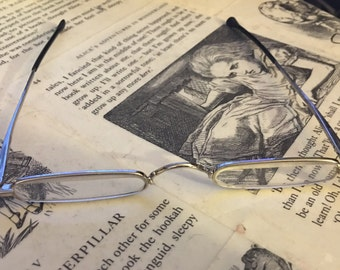 Vintage Narrow Metal Reading Glasses +3.00