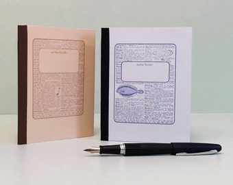 Small notebook with lined or graph paper, pocket, numbered pages, & TOC. Organizer notebook, grid notebook, field notes. Gift for teacher.