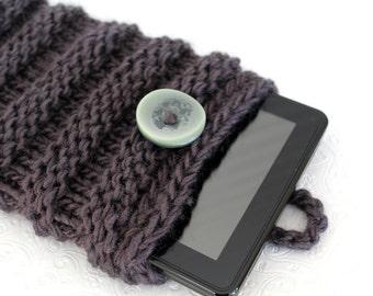 Gray Chunky Knit IPad Mini Sleeve, Knit Kindle Fire Case, Gray Knit Notebook Sleeve, Knit Ereader Sleeve, Grey Ipad Mini Knit, Knit Tablet