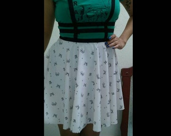 Bow Skater Skirt with Suspenders