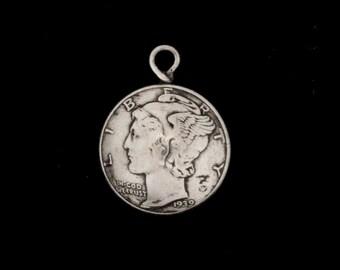 90% Silver Mercury Dime Charm
