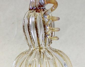 Hand Blown Glass Art Sculpture CLEAR Pumpkin Oneil 6332