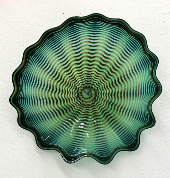 beautiful hand blown glass art wall platter spiral wrap 6488. Black Bedroom Furniture Sets. Home Design Ideas