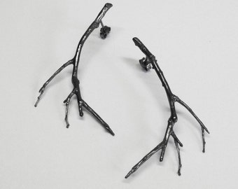 silver branch earrings silver twig earrings - branch earrings-black rhodium plated earrings gift for hwer