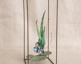 Vintage Metal Art Sculpture, Lily Pads, Pond Scene, Handmade, Brutalist, Wire Sculpture, Metal Plant, Aquatic Plants, Water Plants, Garden