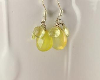 Lemon Quartz Earrings - Chalcedony Earrings - Quartz Earrings - Drop Earrings - Dainty Earrings - Mother's Day Gift - Elegant Earrings