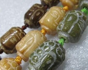 Jade Beads 18 X 14mm Hand Etched Siddhartha Gautama Buddha Face Drum Beads - 6 Pieces