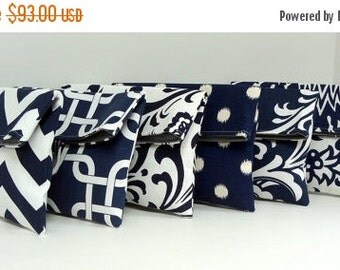 ON SALE Navy Bridesmaid Clutches, Gray and Navy Clutches, Bridesmaid Gift Set of 6