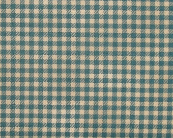 Tan and Dark Aqua Gingham Check 100% Cotton Quilt Fabric Blender, Kim Diehl's Welcome Wagon Collection for Henry Glass Fabrics, HEG6565-77