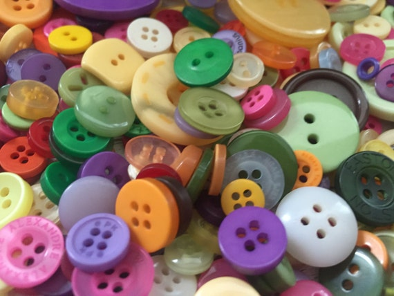 "200+ Mixed Buttons, ""Mixed Colors"", 2 hole, 4 hole, Purple, Green, Yellow, Red & More,  Sewing, Crafting Buttons, Embellishments"