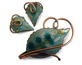 1950s Vintage Signed Matisse Renoir Copper and Enamel - Leafsong Pattern Demi Parure -Teal, Turquoise, Gold  - Brooch and Clip Earring Set