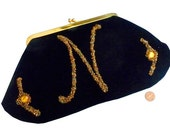 1950s Beaded Black Velvet Clutch Purse Initial N - Lllewellyn Dressy Purse - Lewsid Jewel Evening Bag with Comb and Mirror Original Box