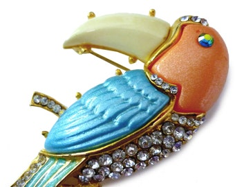 Vintage Toucan Brooch with Rhinestones Enamel and Colored Resin - Colorful 1970s Bird Pin with Rhinestones