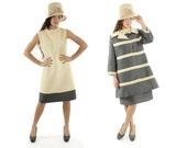 Vintage 60s Lilli Ann Suit Gray Ivory Striped Jacket Sleeveless Dress A Line Mod Dress Set Suit 1960s Medium M