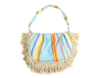 Vintage 70s Fringe Bag Serape Purse Rainbow Striped Fabric Hobo Sling Handbag 1970s Hippie Boho Festival Fashion
