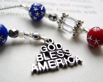 Americana Bookmark Gift Book Thong God Bless America Red White Blue Patriotic Peace Sign Military Gift