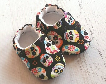 Sugar Skull shoes - baby boy shoes - baby girl shoes - toddler shoes - soft shoes - crib shoes - slipper shoes for babies and toddlers