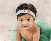 Infant. Child. Newborn.Tieback. Headband. Organic. Pearl. Aqua. Peach. Floral. Moss. Photography Prop. Francesca Collection. Tolola Designs.