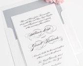 Elegant Script Wedding Invitations - Black and White - Calligraphy - Classic, Upscale Invitation Suite - Dove Gray - Sample Set